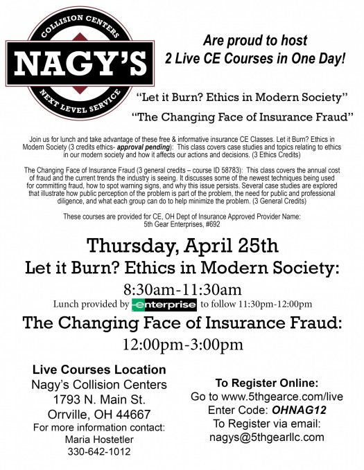 Join Nagy's Collision Centers for lunch and take advantage of these two, free informative Insurance CE Classes.