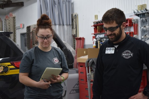 Medina County Career Center Senior, Gabrielle Hamblen shadows Administrative Trainee Brian Prest at Nagys Collision Medina