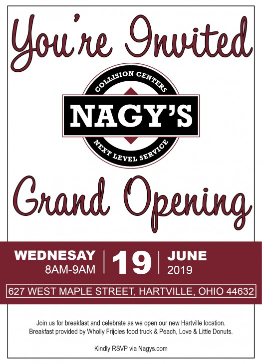 Nagys Collision Hartville will celebrate their newly renoved location on June 19th.