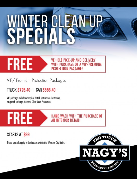 Check out the Winter Clean Up Specials at Nagy's Pro Touch in Wooster Ohio