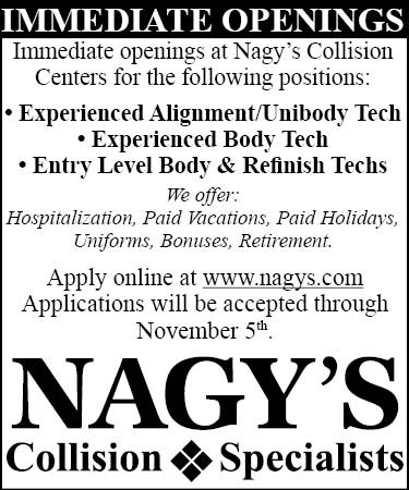 Immediate Openings at Nagy's Collision at Doug Chevrolet