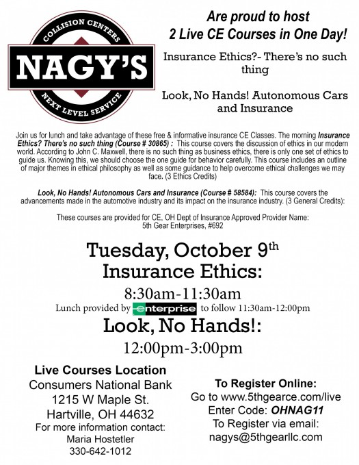 Nagy's Collision is hosting 2 Continuing Education Courses in Hartville on Tuesday, October 9th