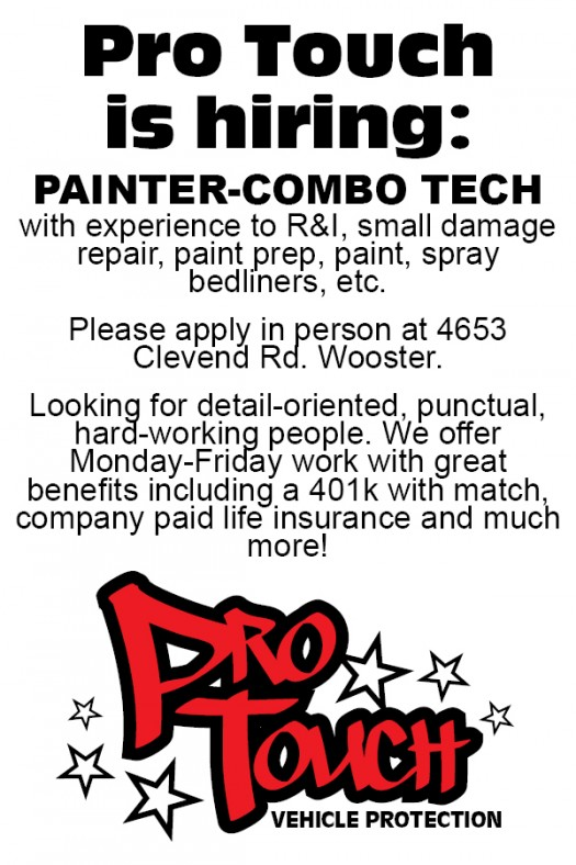 Pro Touch is now Hiring a Painter-Combo Tech