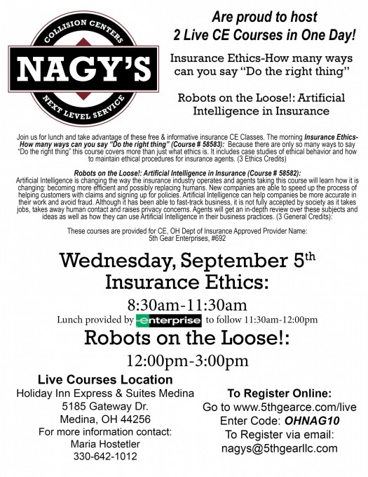 Nagy's Collision is hosting 2 Continuing Education Courses in Medina on Wednesday September 5th