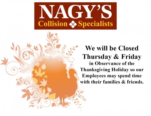 Chevrolet Of Wooster >> Thanksgiving Hours | Nagy's Collision Centers