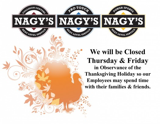 All Nagy's Shops will be closed 11/23 & 11/24