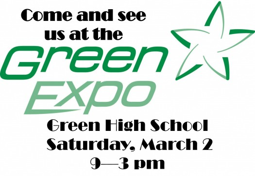 Be sure to come visit us Saturday March 2nd at the Green Expo