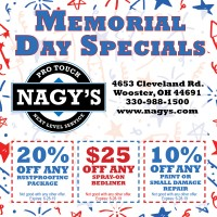 Memorial Day Specials at Nagy's Pro Touch, give us a call for more information 330-988-1500