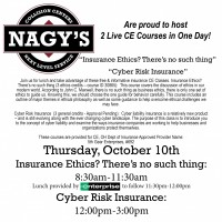 Nagy's will be hosting Live Continuing Education Courses for Insurance Professionals in Ashland on October 10th.