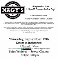Nagys will be hosting Continuing Education for Insurance Professionals September 12th in Uniontown!
