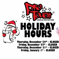 Pro Touch will be Closed Christmas Eve, Christmas Day, New Years Eve and New Years Day