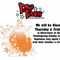 Pro Touch will be Closed 11/26/2020 & 11/27/2020