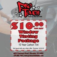 Now Offering Window Tinting, Mention this Ad for $10.00 Off
