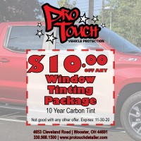 $10.00 Off Window Tinting Package Special Extended through November